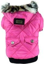 Honden jas - Winterjas voor honden - Winter jas - Gevoerde hondenjas met capuchon - Maat L - Roze