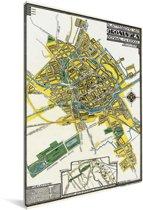 Oude en historische stadskaart van het noordelijke Groningen Canvas - Plattegrond 60x90 cm - Foto print op Canvas schilderij (Wanddecoratie woonkamer / slaapkamer)