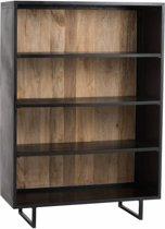 Duverger Industry - Bibliotheek - open - metaal - zwart - houten achterwand - naturel - 120x40x170cm