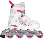 Nijdam Junior Inlineskates Junior Verstelbaar - Semi-Softboot - Wit/Fuchsia/Paars - 27-30