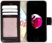 Pearlycase Echt Lederen Wallet Bookcase Apple iPhone 7 met de handgemaakte Donkerbruin Leren Telefoonhoesje