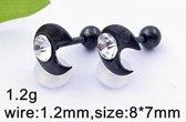 Zwarte Helixpiercing / tragus piercing steentje maan