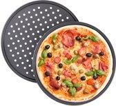 relaxdays pizzaplaat 2 stuks - pizza bakplaat - rond - antiaanbaklaag - geperforeerd grijs