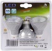 LUCIDE 3 dimbare LED lampen à 7 watt, GU10-fitting, warm wit licht 2700K