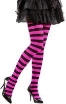 Zwarte en roze gestreepte legging voor volwassenen - Verkleedattribuut