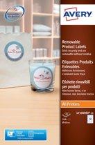 5x Avery Afneembare productetiketten diameter: 60mm, rond, 240 stuks, 12 per blad, doos a 20 blad