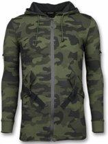 Enos Casual Vest - Long Fit Camouflage Vest - Khaki - Maten: L