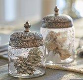 LOBERON Glazen potten set van 2 Laurnena helder/zilverkleurig