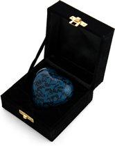 Mini hart urn blauw marmer in doosje