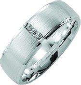 Kiss Me ring zilver mat-hoogglans met 3 zirkonia's KM118 maat 54