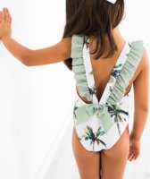 Badpak met strik - zwempak met strik- badpak met palmbomen- zwempak met palmbomen maat 86/92