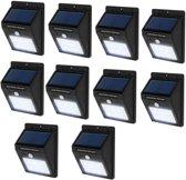 TecTake - 10* LED Solar tuinverlichting wandlamp bewegingssensor 401739