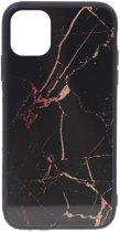 Shop4 - iPhone 11 Hoesje - Harde Back Case Marmer Zwart