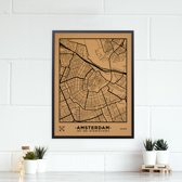 Miss Wood - City Map kurken stadskaart - 60x45cm (L) - Amsterdam met zwarte frame - Zwart