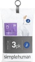 Simplehuman Afvalzak Code J - Voor Pocket Liners - Kunststof - 38-40 l - 3x20 Stuks - Wit