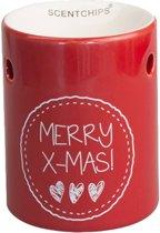 Scentchips brander Merry Christmas rood met hartjes - Keramiek
