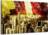 Canvas schilderij Modern   Rood, Geel, Bruin   140x90cm 1Luik