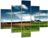Glasschilderij Natuur | Groen, Bruin, Blauw | 100x70cm 5Luik | Foto print op Glas |  F001554