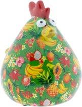Kip Matilda spaarpot | Kip - Groen met tropisch fruit | Pomme pidou