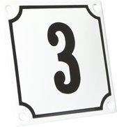 Emaille huisnummer wit/zwart nr. 3 10x10cm