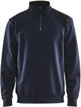 Blåkläder 3353-1158 Sweatshirt Bi-Colour met halve rits Donker marineblauw/Zwart maat XS