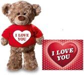Valentijn - Knuffel teddybeer 24 cm met rood shirt I love you hartje - met Valentijnskaart A5 - Valentijn/ romantisch cadeau