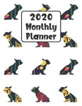 2020 Monthly Planner: French Bulldog Frenchie Dog - 12 Month Planner Calendar Organizer Agenda with Habit Tracker, Notes, Address, Password,
