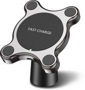 Draadloze oplader auto - 2 in 1 draadloze oplader auto - Fast Charging - snel opladen auto - Draadloos opladen - Magneet autohouder - Draadloze oplader auto magneet - Telefoonhouder - Ventilatiehouder of opplakken - Snellader - Draadloze Autolader