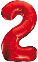 Cijfer 2 Rood Helium 86 cm