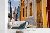 Fotobehang vinyl - Tropisch gekleurde gevels in Recife Brazilië breedte 450 cm x hoogte 300 cm - Foto print op behang (in 7 formaten beschikbaar)
