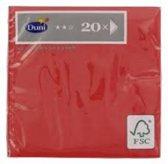 papieren servetten- rood- 20 stuks- 24 x 24 cm - 3 laags