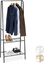 relaxdays - Kledingrek metaal - garderobe - kledingstandaard - schoenenrek - ZWART