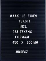 Dresz Letterbord Retro Letterbord - Zwart - 45x60cm
