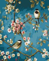 Joeni® – Schilderen op nummer – 40x50cm – Geschenkverpakking – Vogels in Bloesemtakken – Los Canvasdoek
