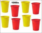 1000x Rode en gele plastic beker