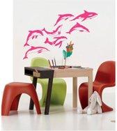 Muurstickers Dolfijnen - set van 7 - 120 x 80 cm - roze