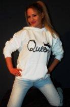 Hippe valentijn sweater | Queen Hoodie | wit | Medium