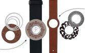 Deja Vu Premium horlogeset zwart/bruin met zilverkleurig uurwerk