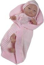 Paola Reina Bebito babypop blank gekleed (roze), omslagdoek 43cm