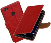 BestCases.nl Rood Pull-Up PU booktype wallet cover hoesje Huawei P10 Lite