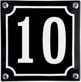 Zwart emaille huisnummer  - 10