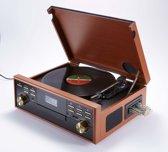 Bigben TD113 Platenspeler met 33, 45, 78 toeren met FM Radio, CD, SD, MP3, USB en Cassette - Hout