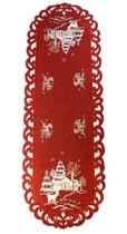 Kerstkleed - Linnenlook - Hert - Rood - Loper 110 cm x 40 cm - 8837