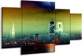 Canvas schilderij Steden | Groen, Geel, Paars | 160x90cm 4Luik