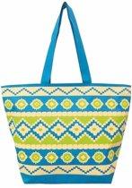 Damestas strandtas Sunbeam met Ibiza print blauw/groen 58 cm - Dames handtassen - Shopper - Boodschappentassen