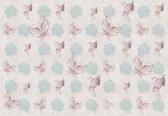 Fotobehang Butterflies and Roses Pattern | M - 104cm x 70.5cm | 130g/m2 Vlies