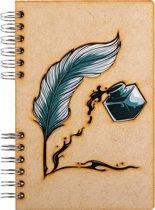 Houten notitieboek – A4 – Gelinieerd – Veer & Inkt
