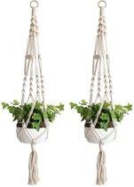 Plantenhanger macramé - gevlochten touw katoen - 2 stuks - plantenpot ophangen