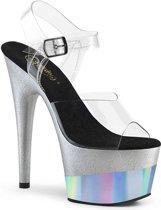 Pleaser Sandaal met enkelband -37 Shoes- ADORE-708-2HGM Wit/Zilverkleurig