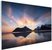 Zonsopkomst achter eiland Glas 120x80 cm - Foto print op Glas (Plexiglas wanddecoratie)